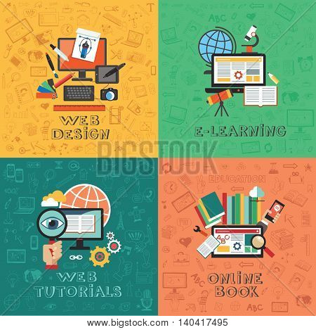 Flat vector concept education infographics. Web design. E-learning. Web tutorials. Online Book.