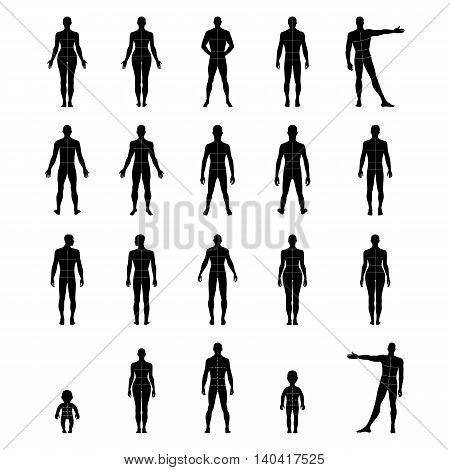 Full length front back human silhouette vector illustration with marked body's sizes lines isolated on white