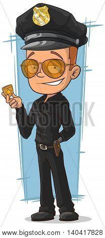 A vector illustration of cartoon cool policeman in black uniform