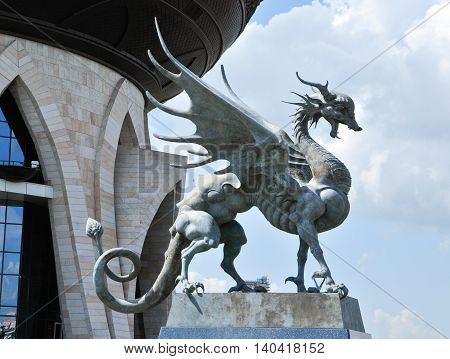 Kazan, Tatarstan, Russia - July 29, 2016.Central Wedding Palace. Zilant - in Tartar legends and tales of mythological creature with the face of the dragon or winged snake. Sculptor Dashi Namdakov.