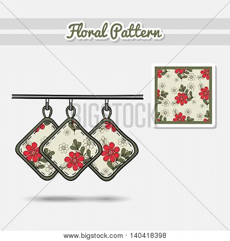 Hand drawn potholders with seamless pattern made from hand drawn flowers. Vector illustration. Can be used for textile.