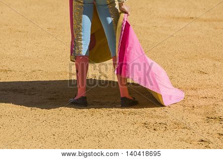 Spanish Bullfighter with the Cape in the bullring Spain