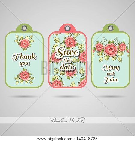 Tags for wedding with hand drawn flowers. Vector illustration.