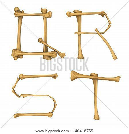 3D illustration of Skeleton alphabet Q-T isolated on white background