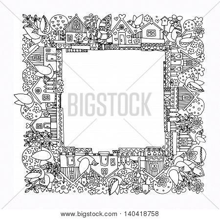 Cartoon hand drawing houses frame, vector illustration