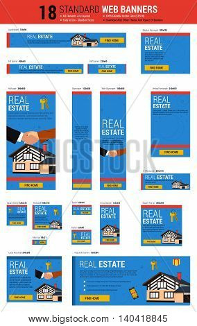 Vector template of eighteen web standard size banners. Real state agency concept. All the most common size, each banner layered. Easily editable