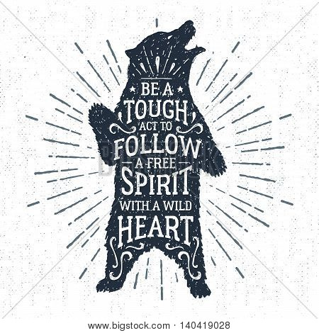 Hand drawn tribal badge with textured grizzly bear vector illustration and