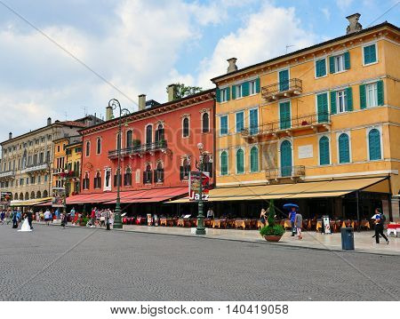 VERONA ITALY - JUNE 28: View of a historical center of Verona Italy on June 28 2014. Verona is a city straddling the Adige river in Veneto northern Italy.