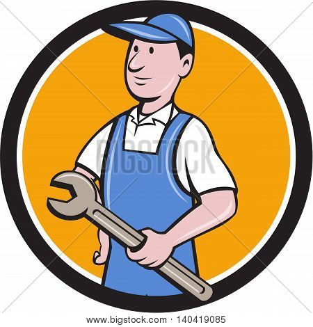 Illustration of a repairman handyman worker wearing hat and overalls holding spanner wrench looking to the side viewed from front set inside circle done in cartoon style.