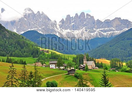 View of Italian Alps in Funes walley Dolomites