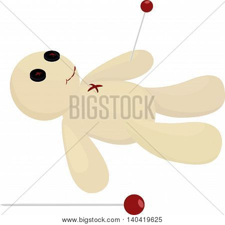 Halloween voodoo doll with pin vector isolated on white