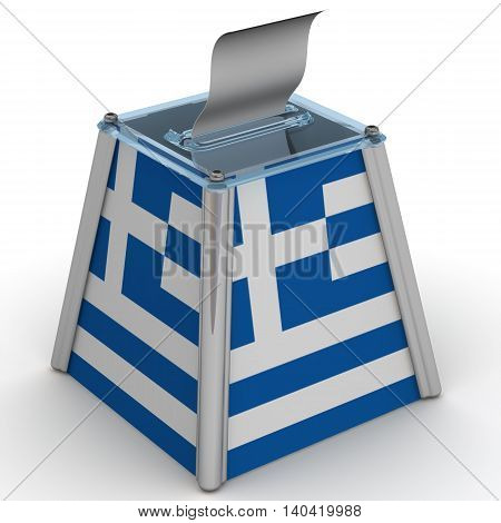 Ballot box to vote with the flag of Greece and ballot sheet is on the white surface. Isolated. 3D Illustration