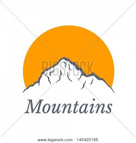 Mountains logo with sun , vector illustration