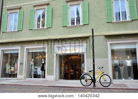 TRENTO ITALY - JULY 23: Facade of Max &Co flagship store in Trento Italy on July 23 2014. Max & Co is a global fashion brand founded in Italy.
