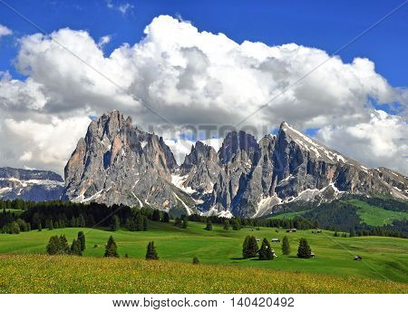 Mountains and clouds Val Gardena italian Alps
