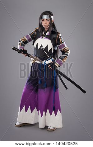 Japanese Samurai With Katana Sword