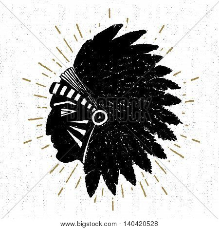 Hand drawn tribal icon with a textured American indian chief vector illustration.