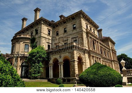 Newport Rhode Island - July 17 2015: The Breakers (1895) designed by Richard Morris Hunt for Cornelius Vanderbilt II as the family summer home is built in Italian Renaissance style