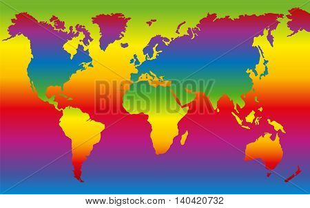 Rainbow colored world map - planet earth in dazzling colors.