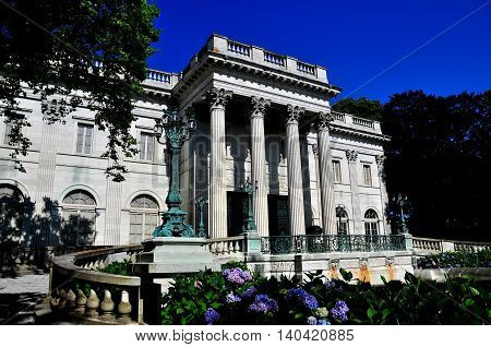 Newport Rhode Island - July 16 2015: 1892 Marble House designed by noted architect Richard Morris Hunt as a summer home for Alva and William Vanderbilt *