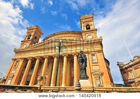 Facade of famous Rotunda church in Malta
