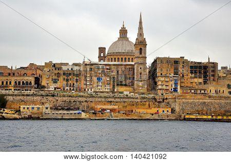VALLETTA MALTA - FEBRUARY 20: Panorama of Valletta city on February 20 2014. Valletta is a capital and the largest city of Malta.