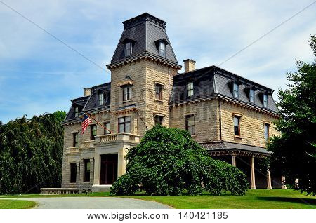 Newport Rhode Island - July 17 2015: Chateau-sur-Mer completed in 1852 for William Shepard Wetmore was the first of the Bellevue Avenue gilded-age mansions *