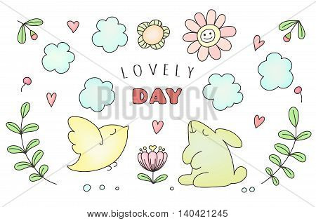 Hand drawn cute doodle animals sun and cloud flowers. Greeting card says Lovely Day. Vector illustration for kids.