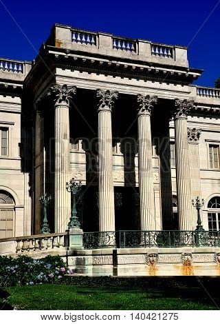Newport Rhode Island - July 16 2015: 1892 Marble House designed by noted architect Richard Morris Hunt as a summer home for Alva and William Vanderbilt