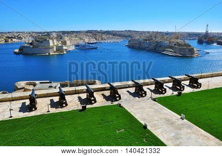 VALLETTA MALTA - FEBRUARY 17: Panorama of Senglea and Birgu cities of Valletta on February 7 2014. Valletta is a capital and the largest city of Malta.
