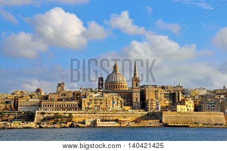 VALLETTA MALTA - FEBRUARY 22: Panoramic view of Valletta city on February 20 2014. Valletta is a capital and the largest city of Malta.