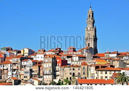 Bell tower and old town of Oporto Portugal