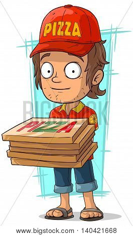 A vector illustration of cartoon delivery man with few pizza box
