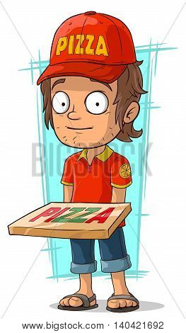 A vector illustration of cartoon delivery man with pizza