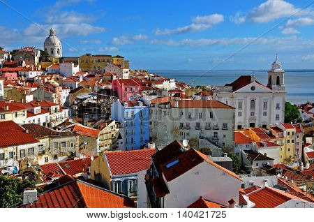 Panorama of Alfama historical district of Lisbon, Portugal
