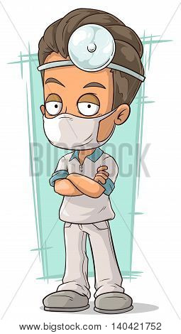 A vector illustration of cartoon doctor with white mask