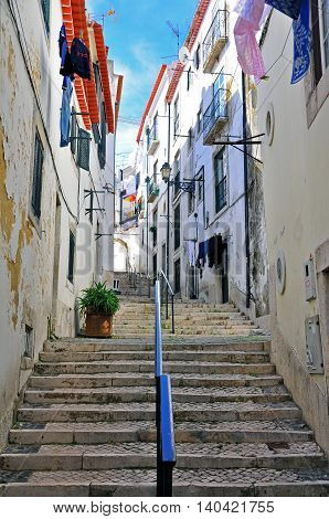 Stairs in Alfama district of Lisbon city, Portugal