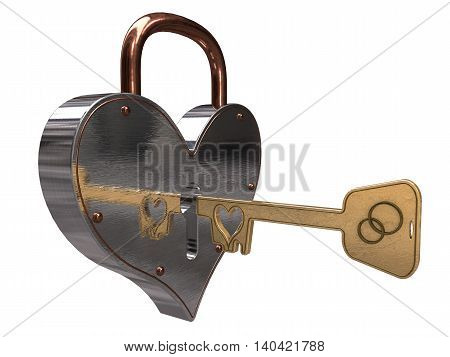 Lock in the shape of a heart with a golden key. 3d illustration