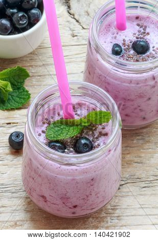 Healthy Breakfast. Summer Dessert. Smoothies With Homemade Yoghurt, Blueberries And Chia Seeds. Sele