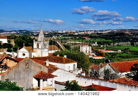 Obidos cityscape from above, city of Portugal