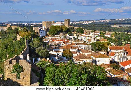 View of Obidos unique village in central Portugal