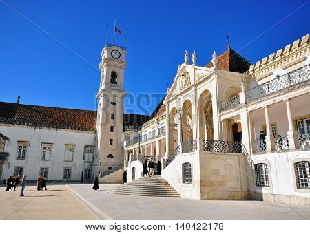 LISBON PORTUGAL - DECEMBER 7: Central square of Coimbra University on December 7 2013. Coimbra is the 3rd largest city of Portugal.