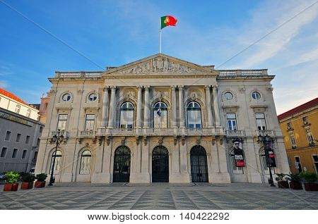 LISBON PORTUGAL - DECEMBER 21: City hall building on the square of Municipio in Lisbon on december 21 2013. Lisbon is a capital and the largest city of Portugal.