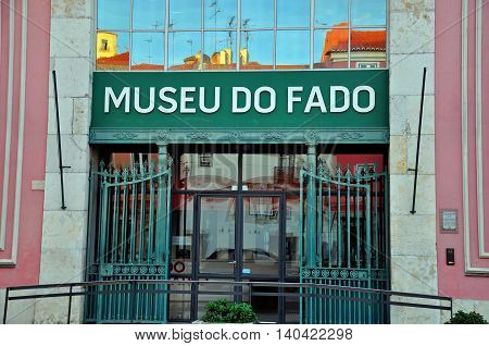 LISBON PORTUGAL - DECEMBER 21: Facade of Fado museum building in Lisbon on december 21 2013. Lisbon is a capital and the largest city of Portugal.