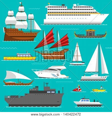 Ship, boat vessel, warship and cargo ship, cruise ship. Yacht, wherry, hovercraft. Water ship transport sea boat set. Super set of water ships carriage maritime transport in modern flat design vector