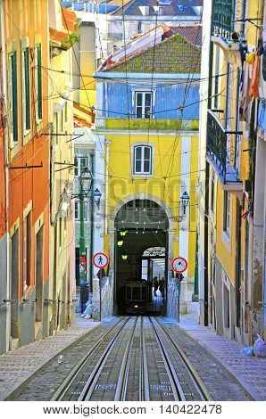 Bica funicular in Lisbon city centre, Portugal