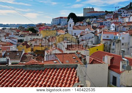 Panorama of Alfama old district, Lisbon, Portugal