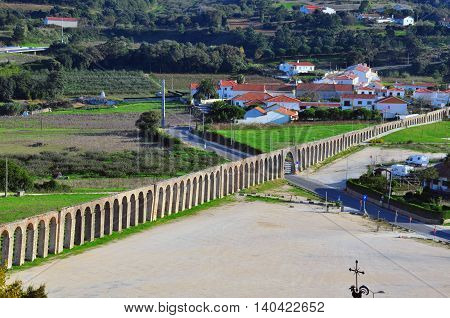 Ancient aqueduct of Obidos old town, Portugal