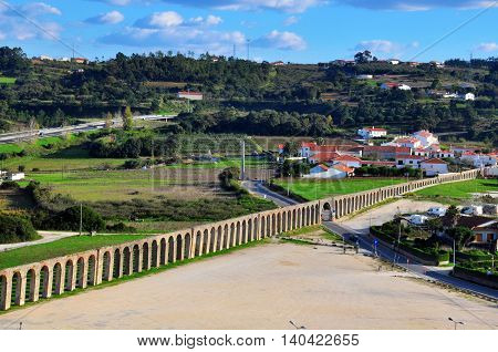 Landscape with an ancient aqueduct in Obidos, Portugal