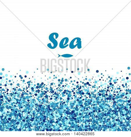 Vector creative banner of blue round bubbles with fish. Sea design.